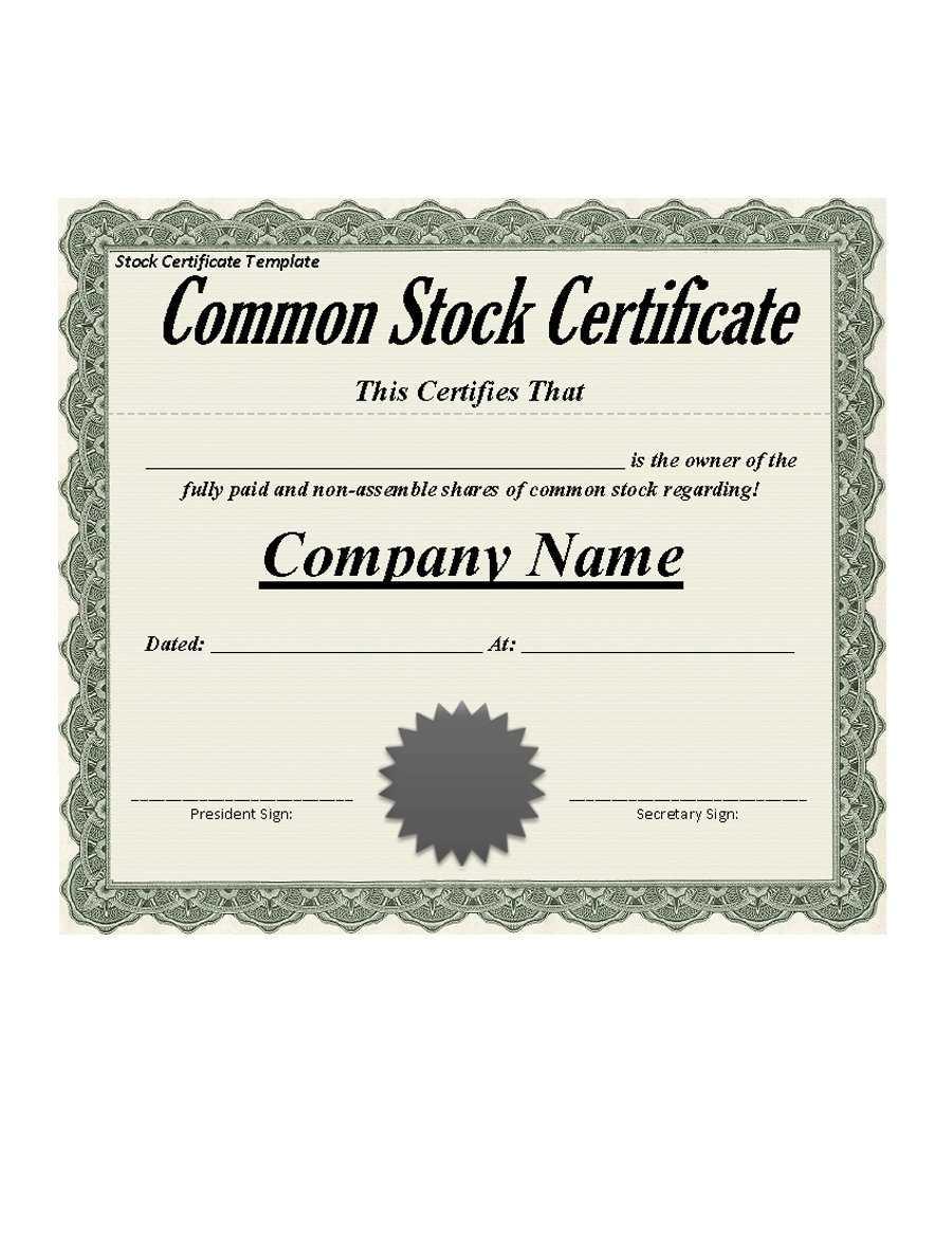 40+ Free Stock Certificate Templates (Word, Pdf) ᐅ Templatelab Pertaining To Corporate Bond Certificate Template