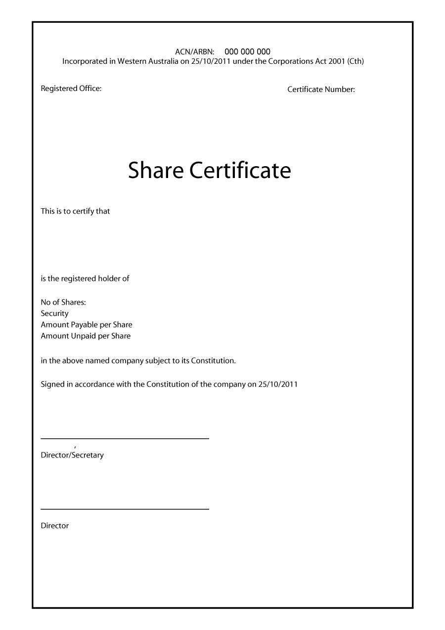 40+ Free Stock Certificate Templates (Word, Pdf) ᐅ Templatelab Throughout Share Certificate Template Australia