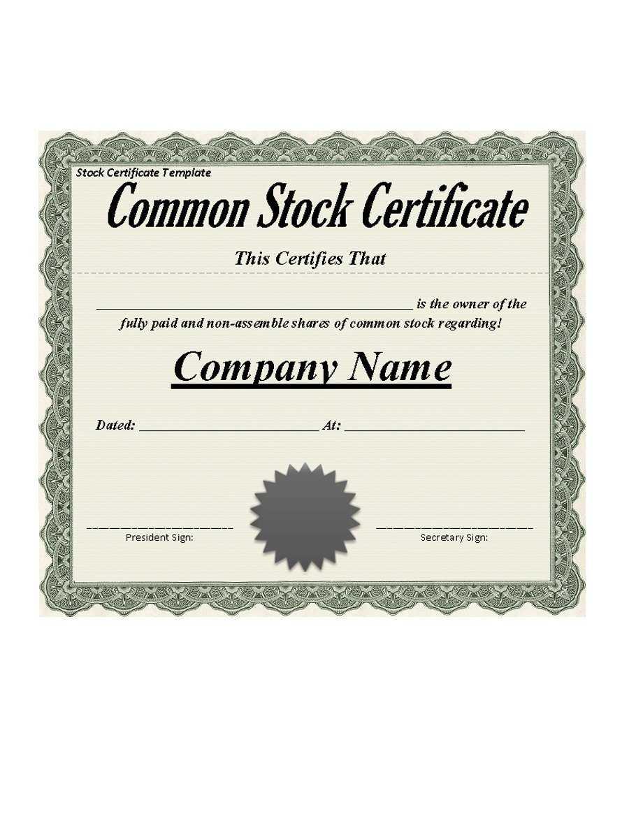 41 Free Stock Certificate Templates (Word, Pdf) - Free With Regard To Free Stock Certificate Template Download