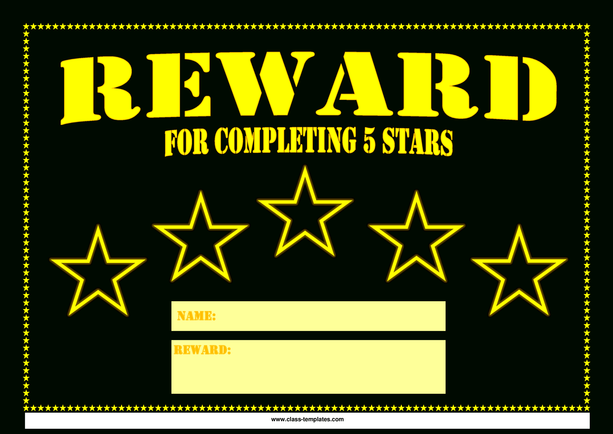 5 Star Printable Reward Certificate | Templates At With Star Naming Certificate Template