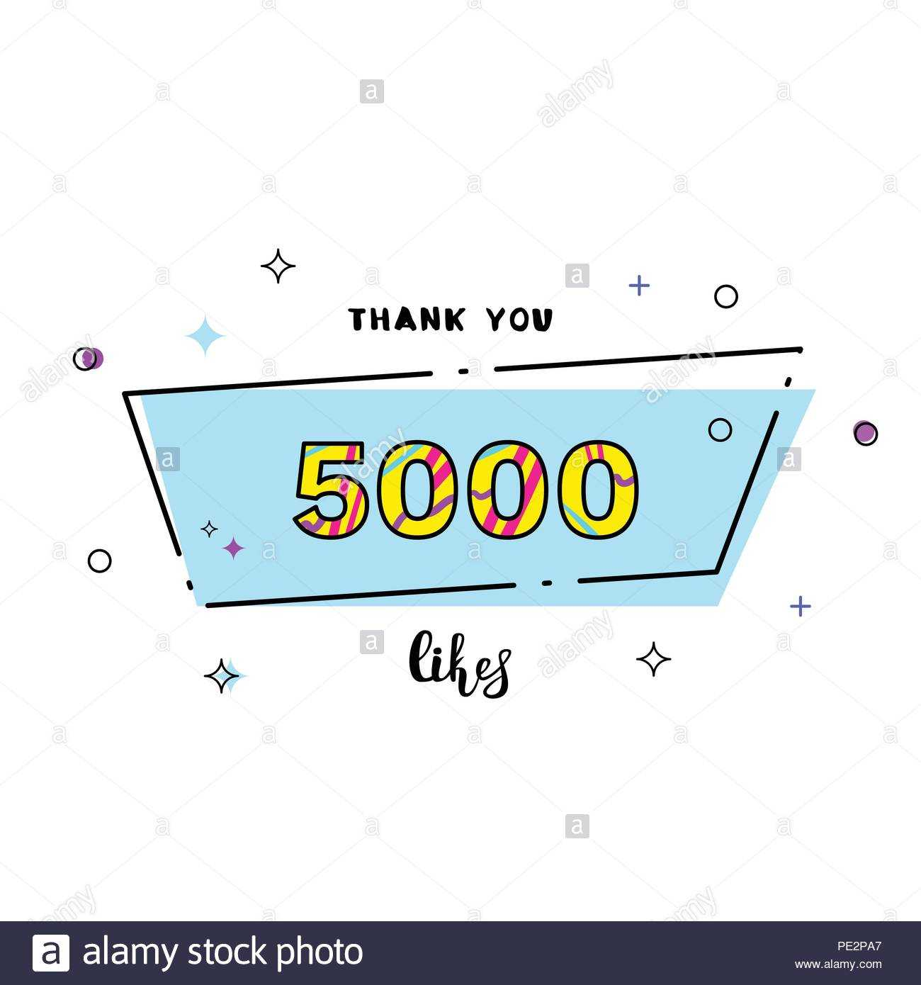 5000 Likes Thank You Card. Template For Social Media. Vector For Soccer Thank You Card Template