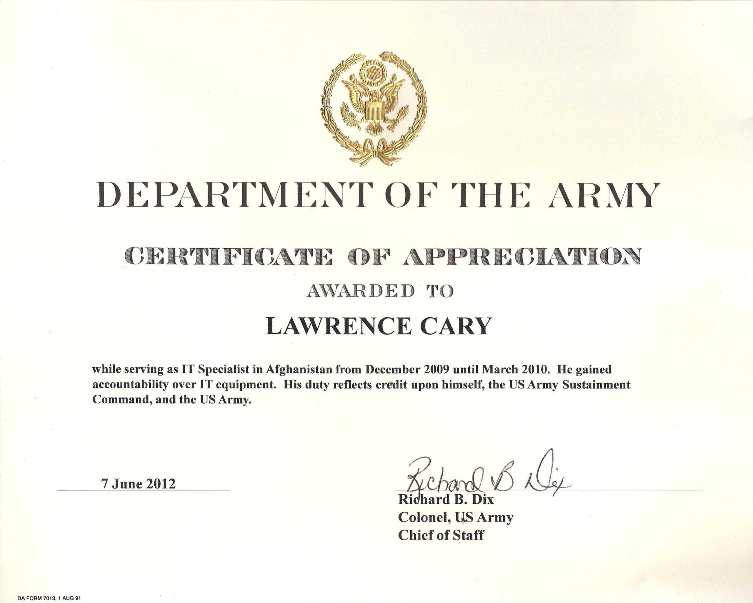 6+ Army Appreciation Certificate Templates – Pdf, Docx Inside Retirement Certificate Template