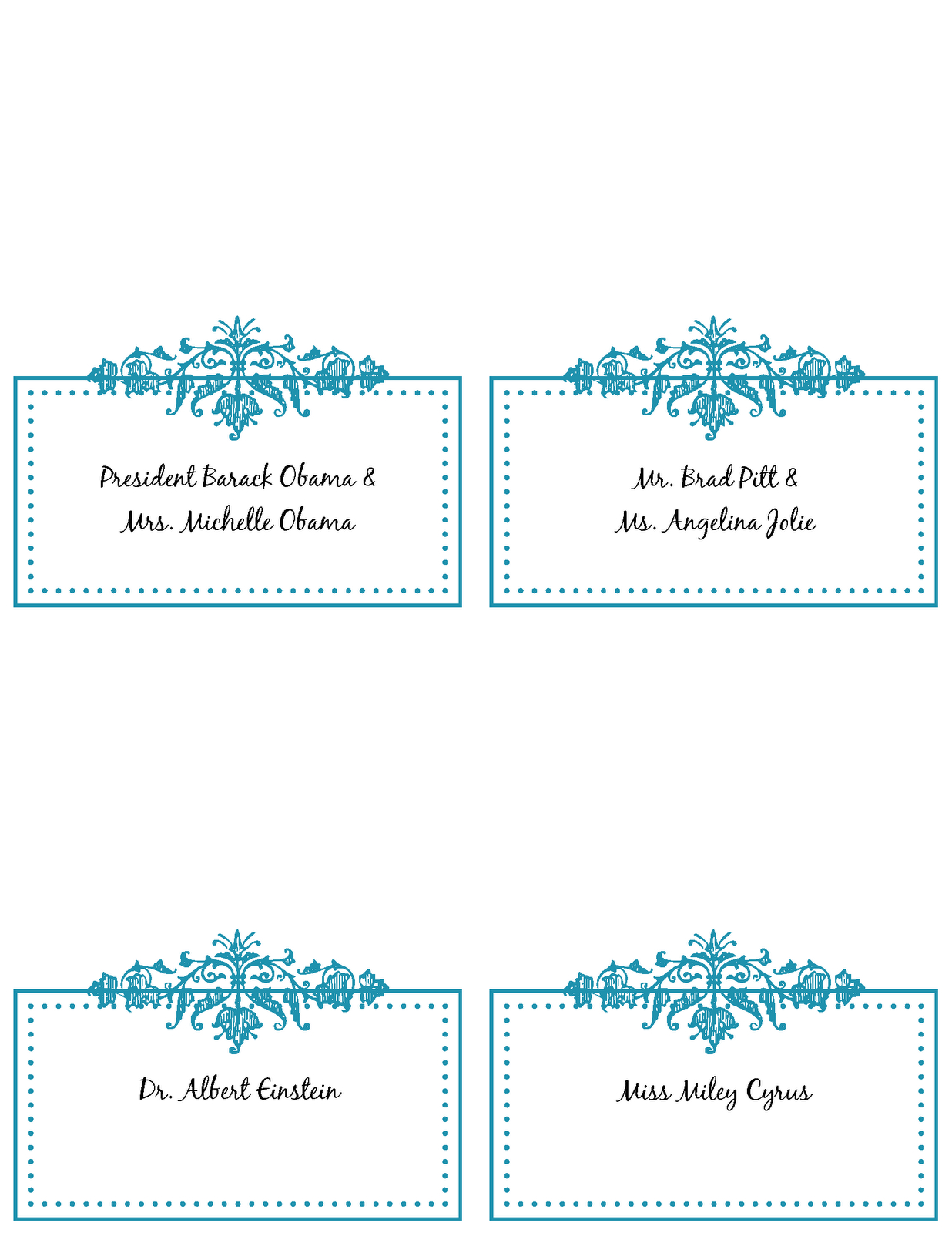 6 Best Images Of Free Printable Wedding Place Cards - Free With Wedding Place Card Template Free Word