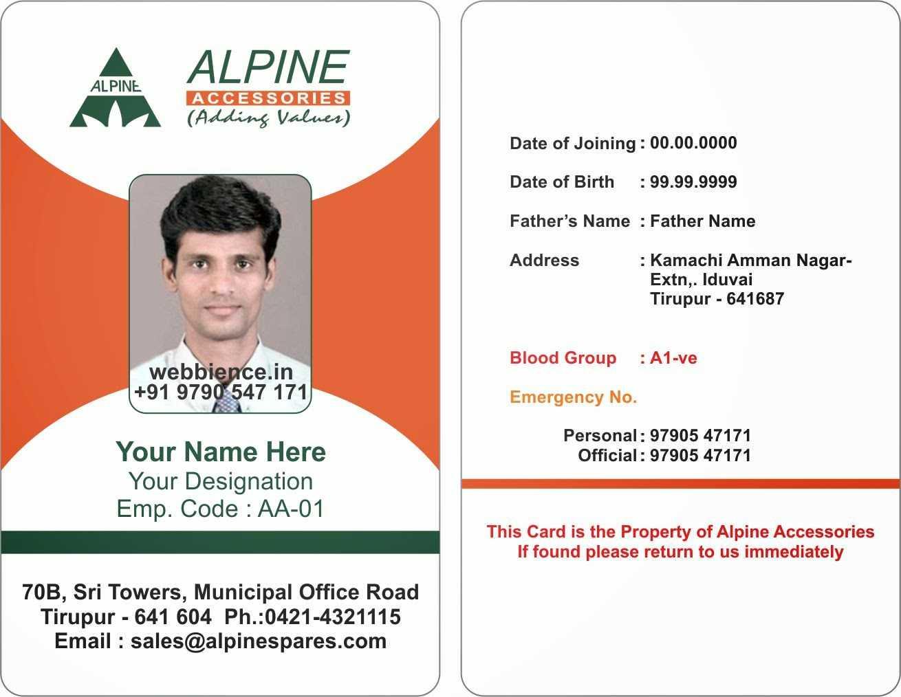 6517082 Sample Employee Id Card Template Employee Template Pertaining To Sample Of Id Card Template