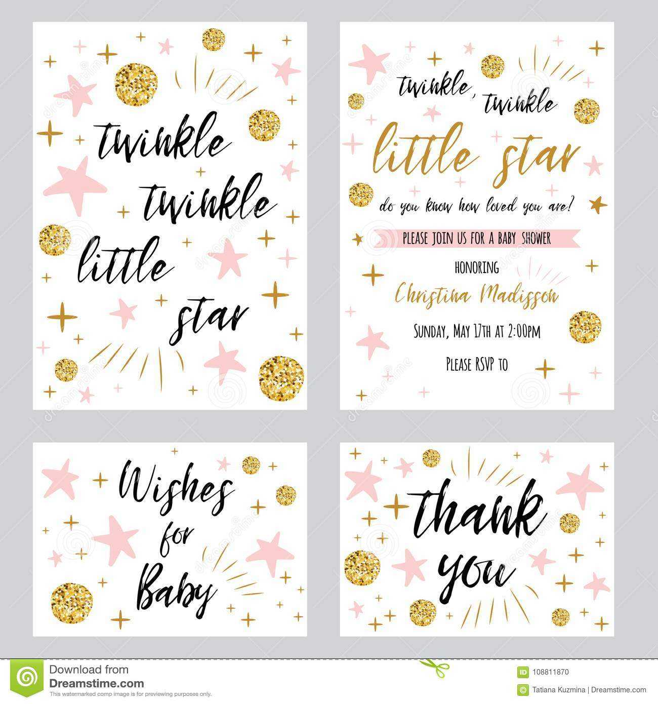 Baby Shower Girl Templates Twinkle Twinkle Little Star Text With Regard To Thank You Card Template For Baby Shower
