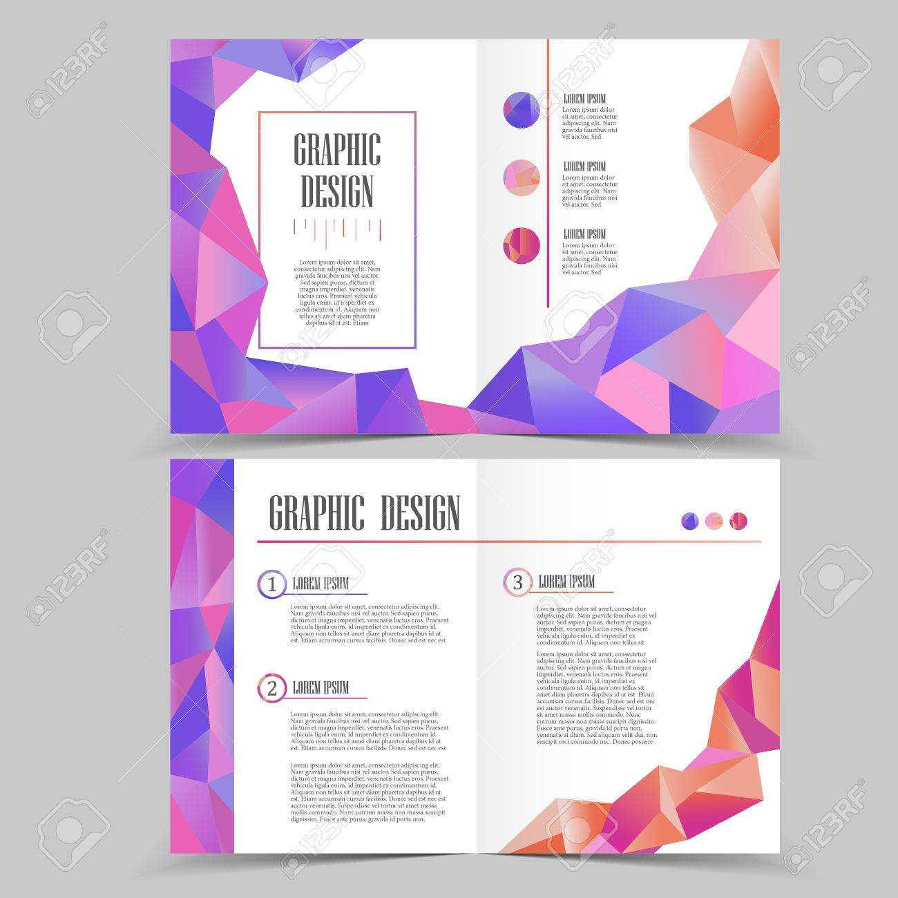 Beautiful Half Fold Brochure Template Design With Crystal Elements Inside Half Page Brochure Template