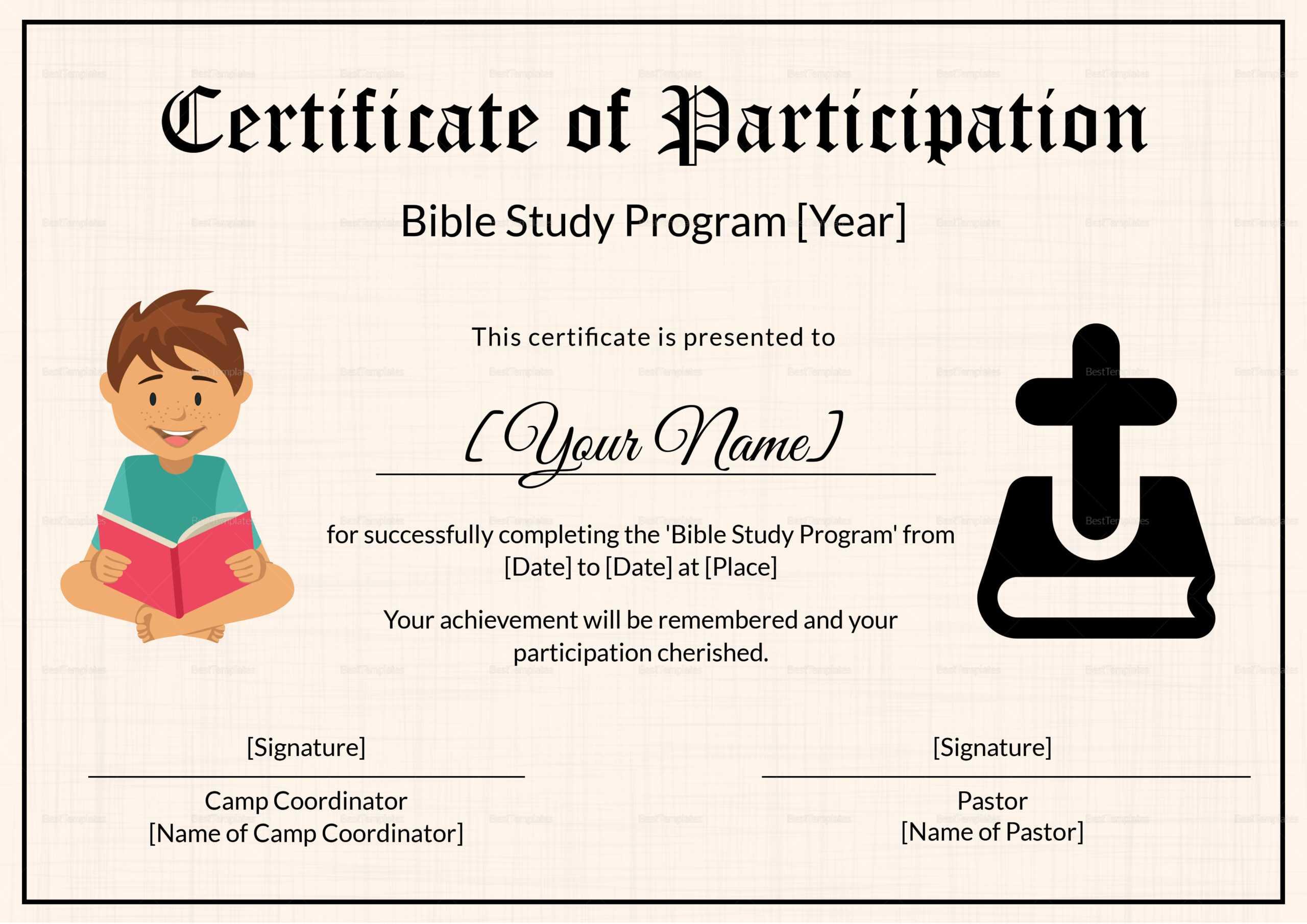 Bible Prophecy Program Certificate For Kids Template Inside Christian Certificate Template