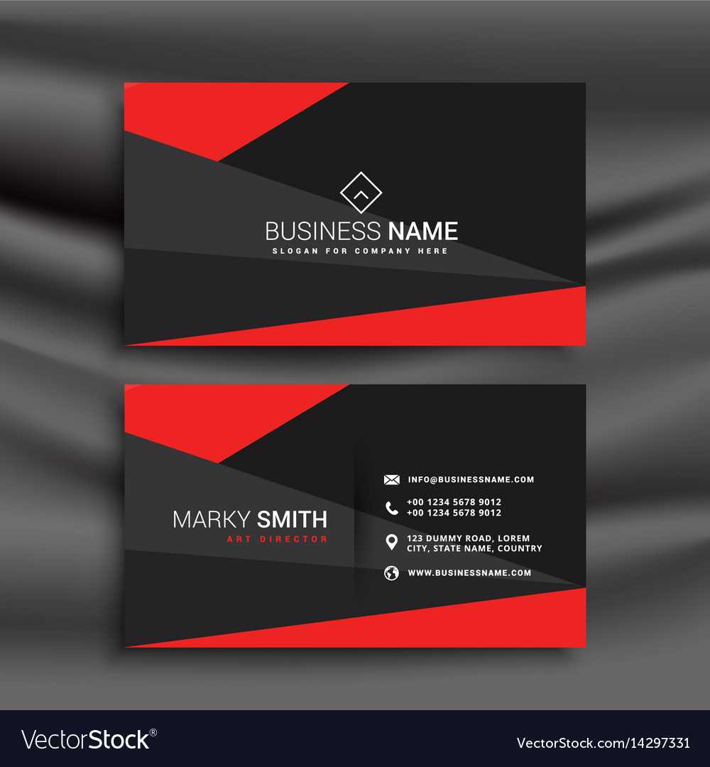 Black And Red Business Card Template With For Visiting Card Templates Download