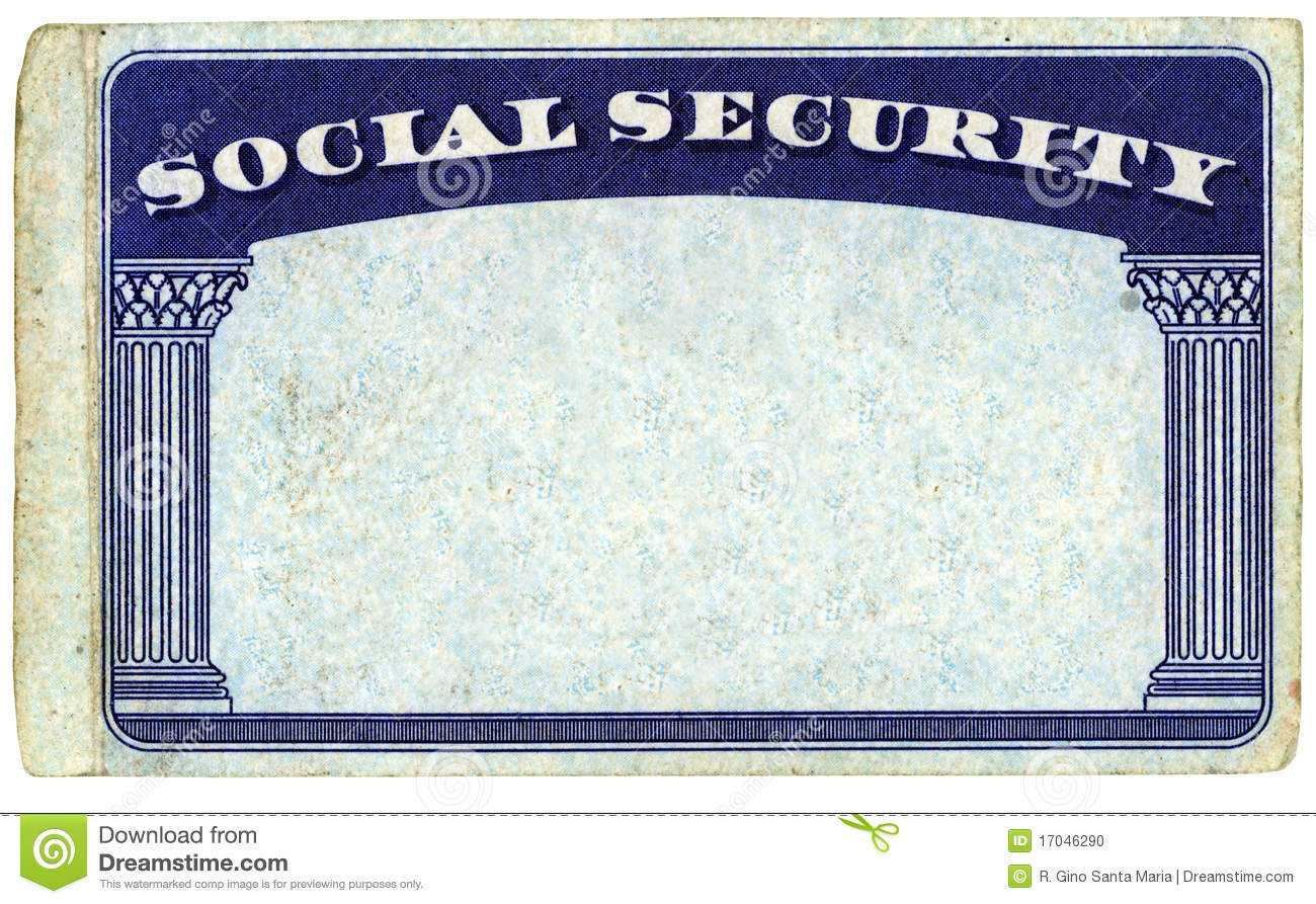 Blank American Social Security Card Stock Photo - Image Of Pertaining To Social Security Card Template Pdf