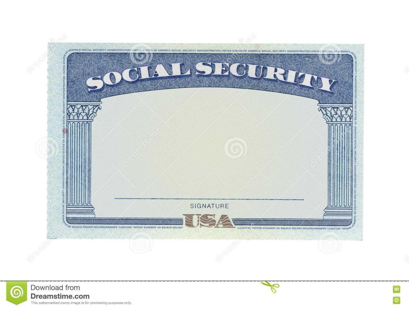 Blank Social Security Card Stock Photo. Image Of Government With Social Security Card Template Free