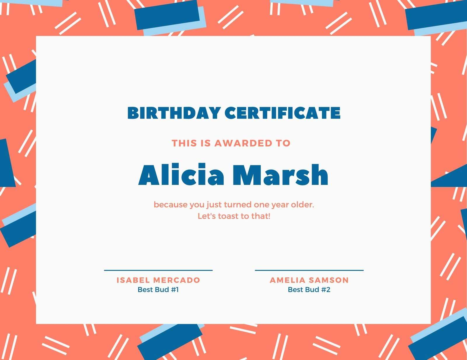 Blue And Coral Fun Pattern Birthday Certificate – Templates Regarding Fun Certificate Templates