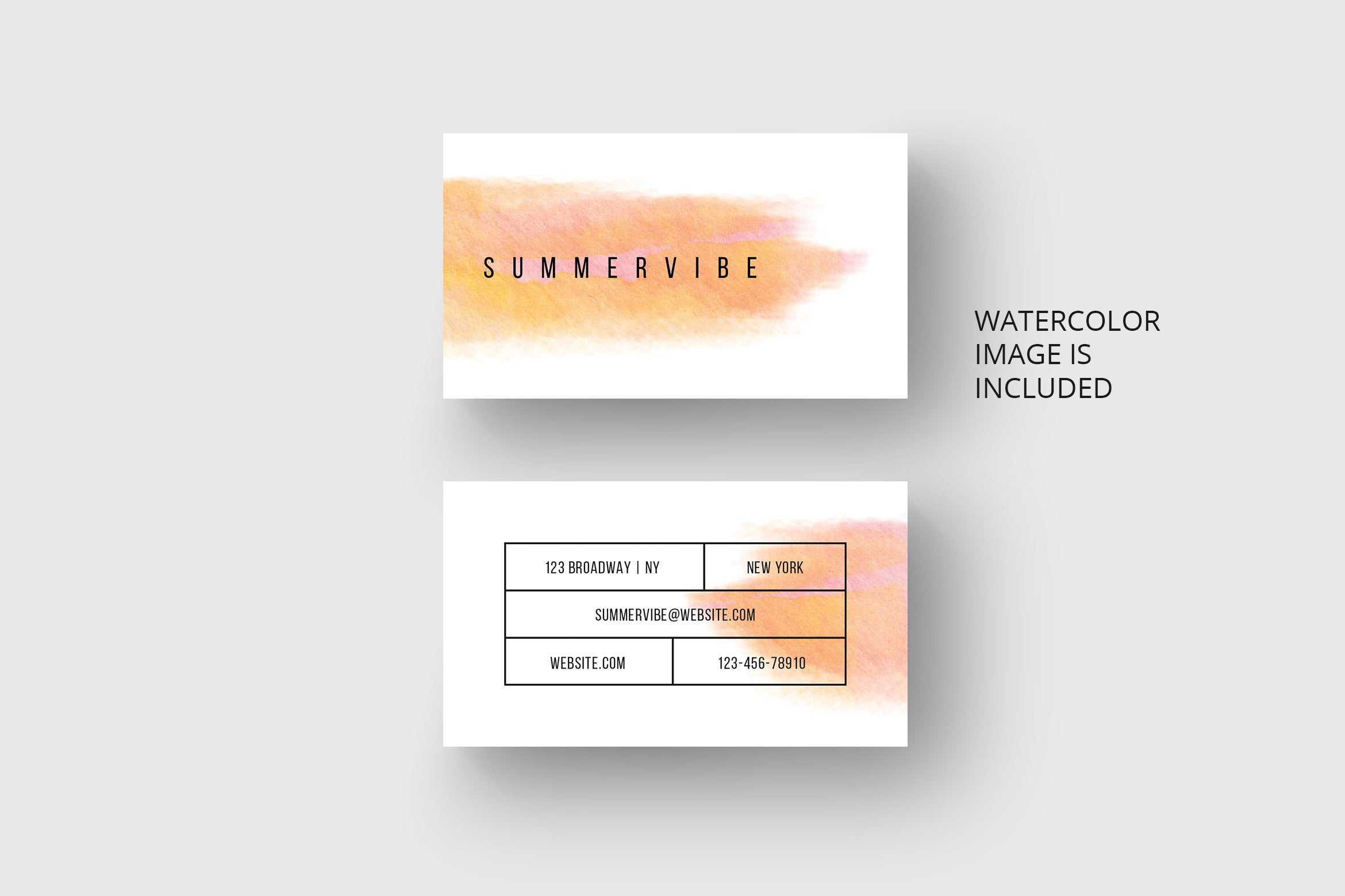 Business Card Template With Orange Watercolor * Eu & Us Size * Photoshop Within Business Card Template Size Photoshop