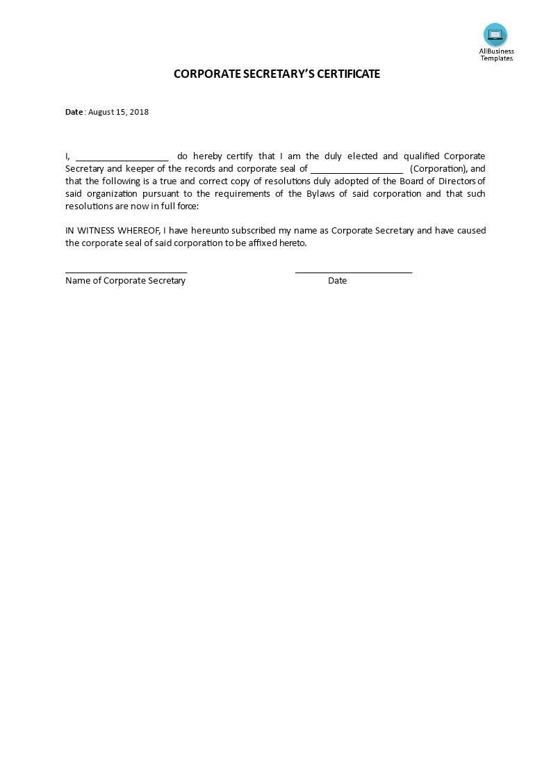Certificate, Corporate Secretary's | Templates At Intended For Corporate Secretary Certificate Template