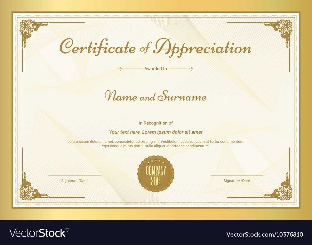 Certificate Of Appreciation Template Throughout In Appreciation Certificate Templates