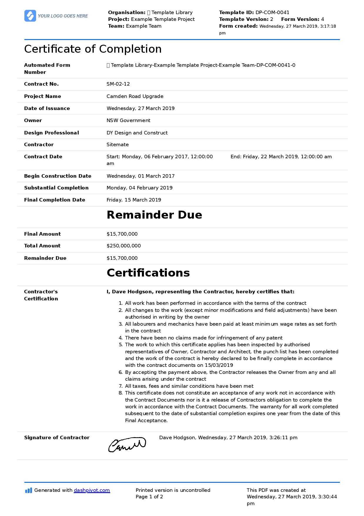 Certificate Of Completion For Construction (Free Template + Inside Certificate Of Completion Construction Templates