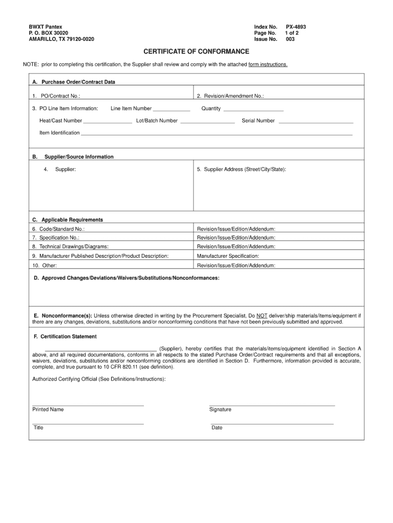 Certificate Of Conformance Template - Fill Online, Printable With Certificate Of Compliance Template