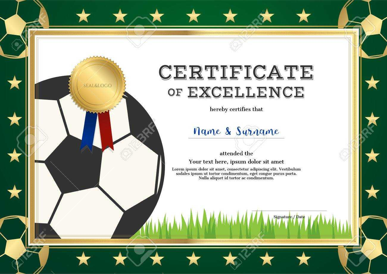 Certificate Of Excellence Template In Sport Theme For Football.. Regarding Football Certificate Template