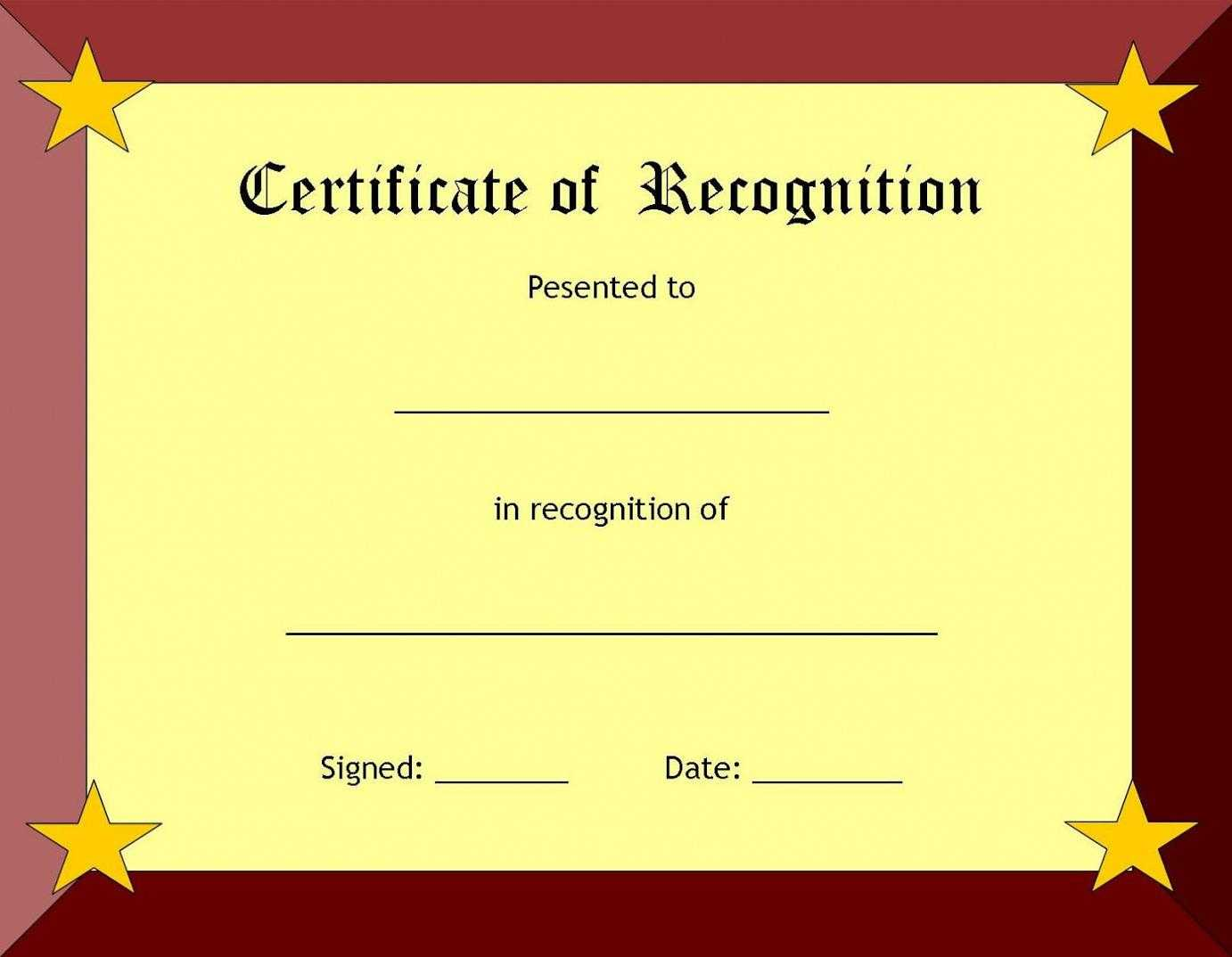 Certificate Of Recognition Template – Certificate Templates Throughout In Appreciation Certificate Templates