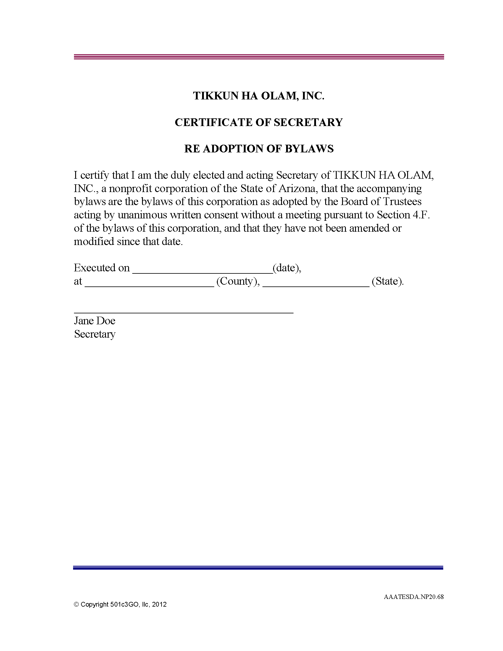 Certificate Of Secretary Re Adoption Of Bylaws | 501C3Go Regarding Corporate Secretary Certificate Template