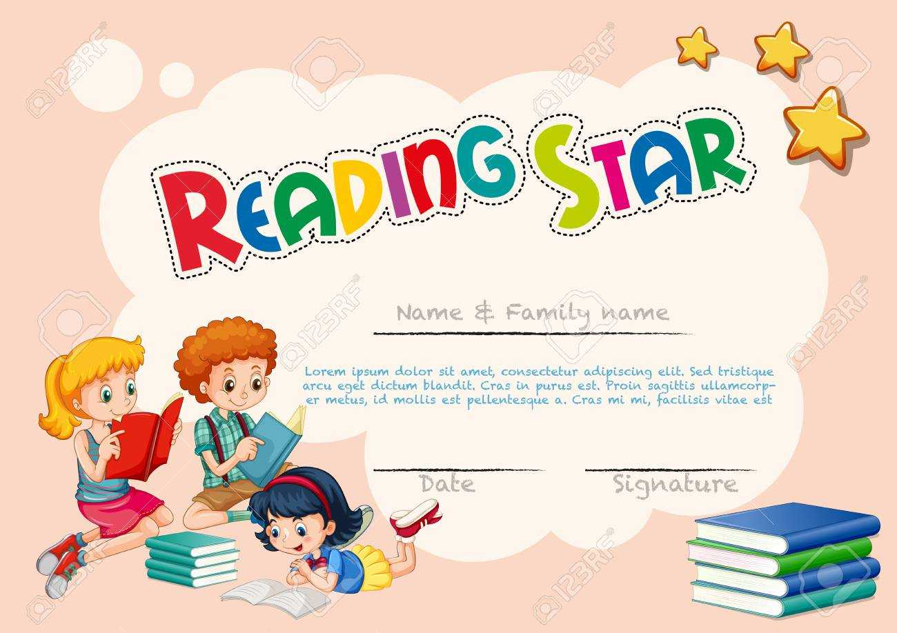 Certificate Template For Reading Star With Pink Background Illustration Regarding Star Naming Certificate Template
