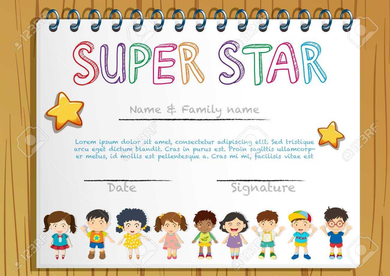 Certificate Template For Super Star Illustration Inside Star Naming Certificate Template