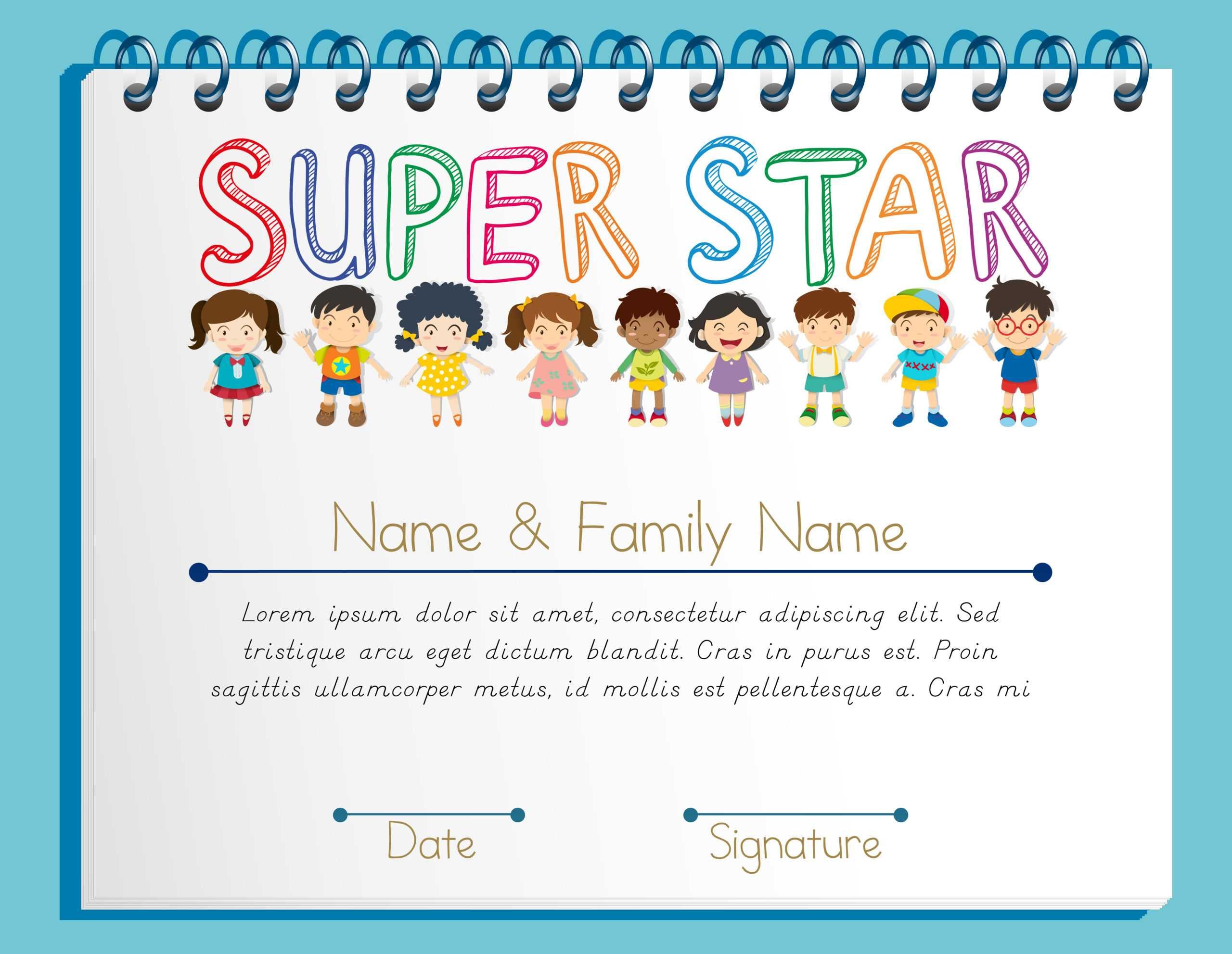 Certificate Template For Super Star With Many Children Pertaining To Star Naming Certificate Template