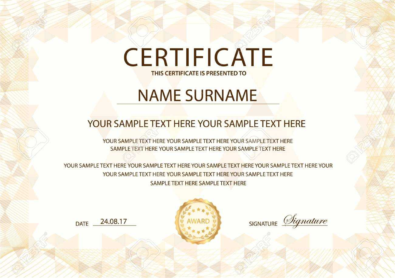 Certificate Template With Gold Emblem. Design For Diploma, Certificate.. Intended For Retirement Certificate Template