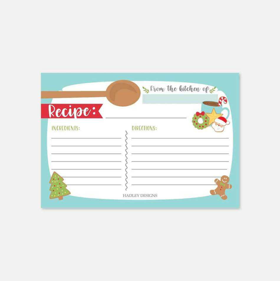 Christmas Cookie Exchange Recipe Card Template Inside Cookie Exchange Recipe Card Template