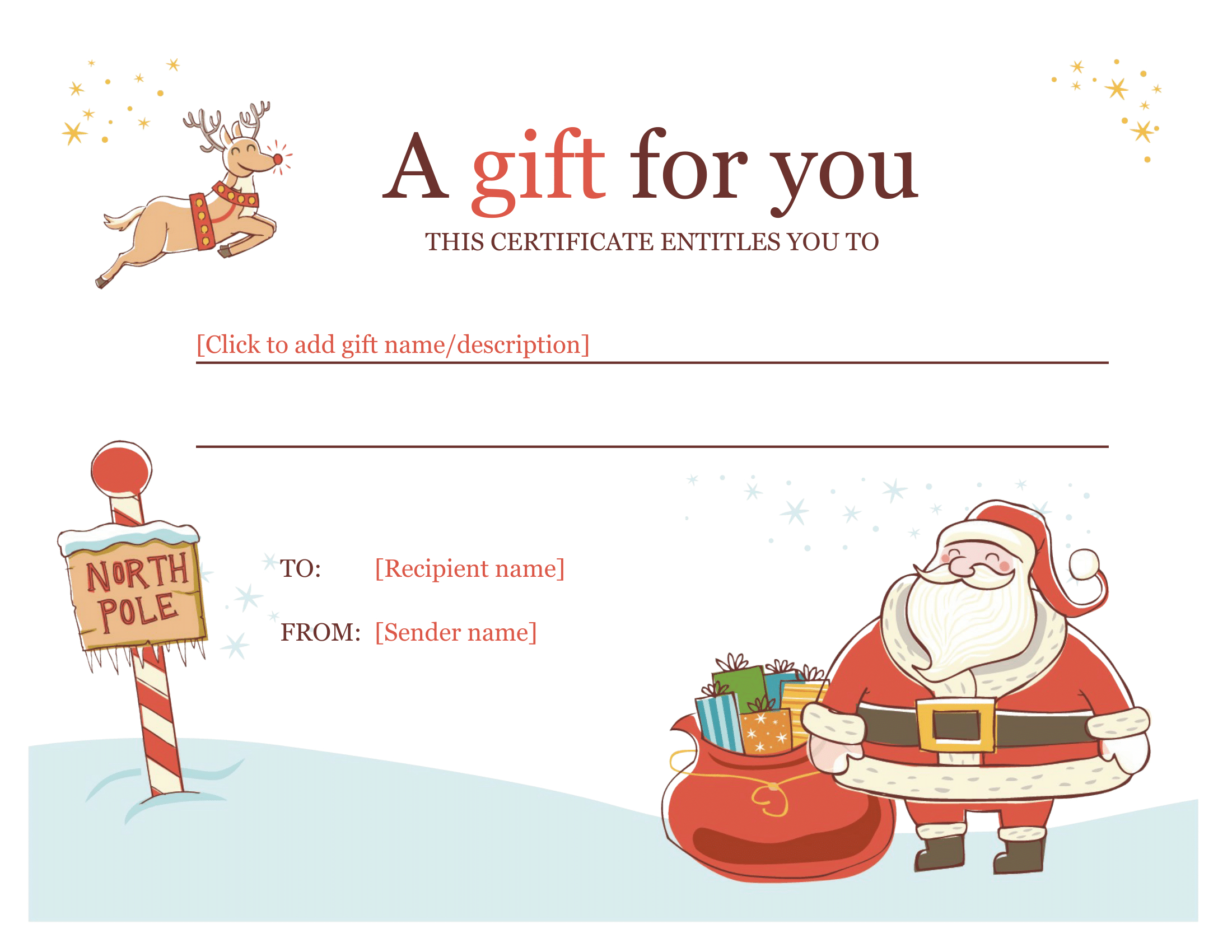 Christmas Gift Certificate - Download A Free Personalized Regarding Christmas Gift Certificate Template Free Download