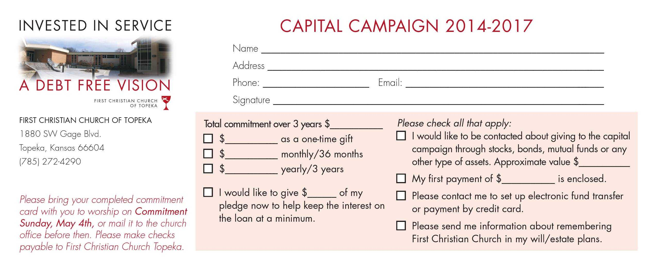 Church Capital Campaign Pledge Card Samples With Free Pledge Card Template