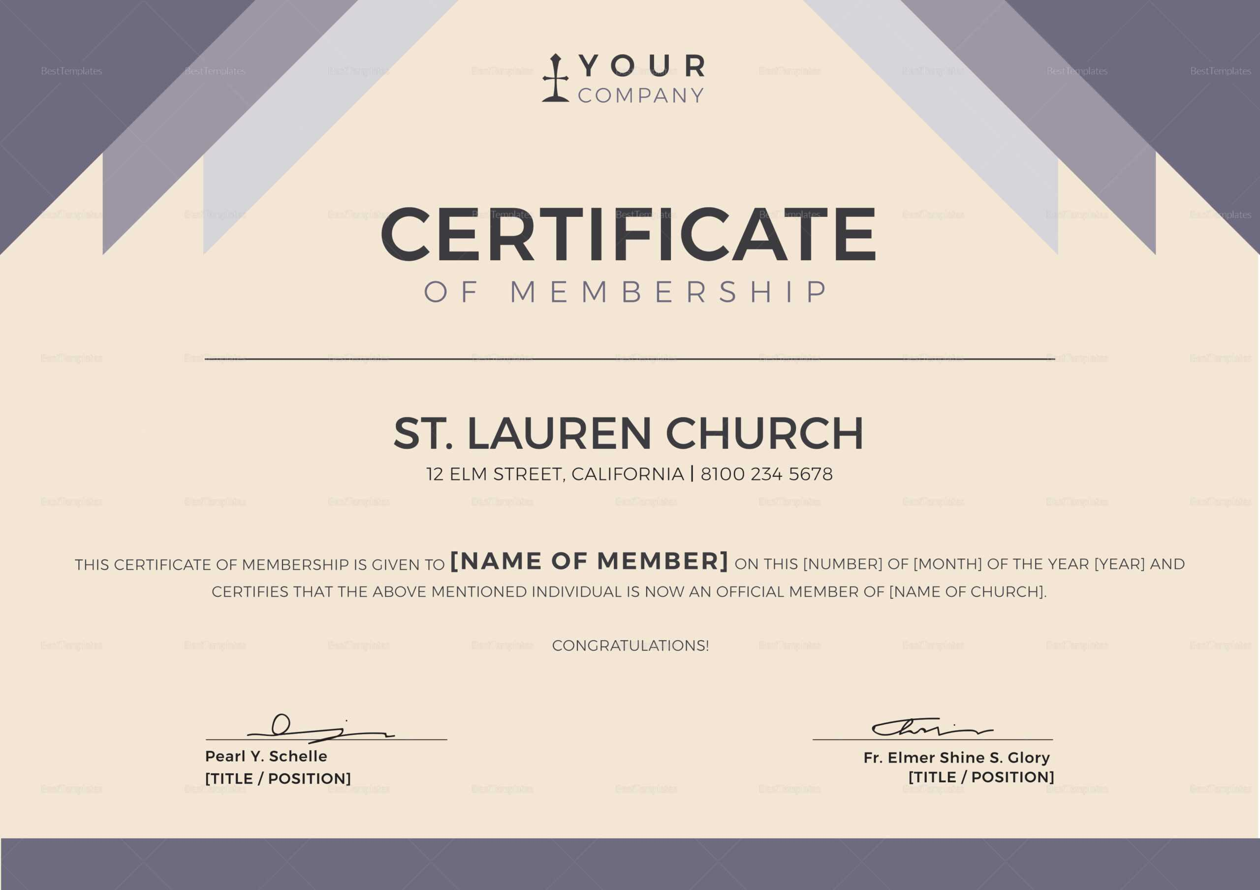 Church Certificates Templates - Calep.midnightpig.co With Regard To New Member Certificate Template