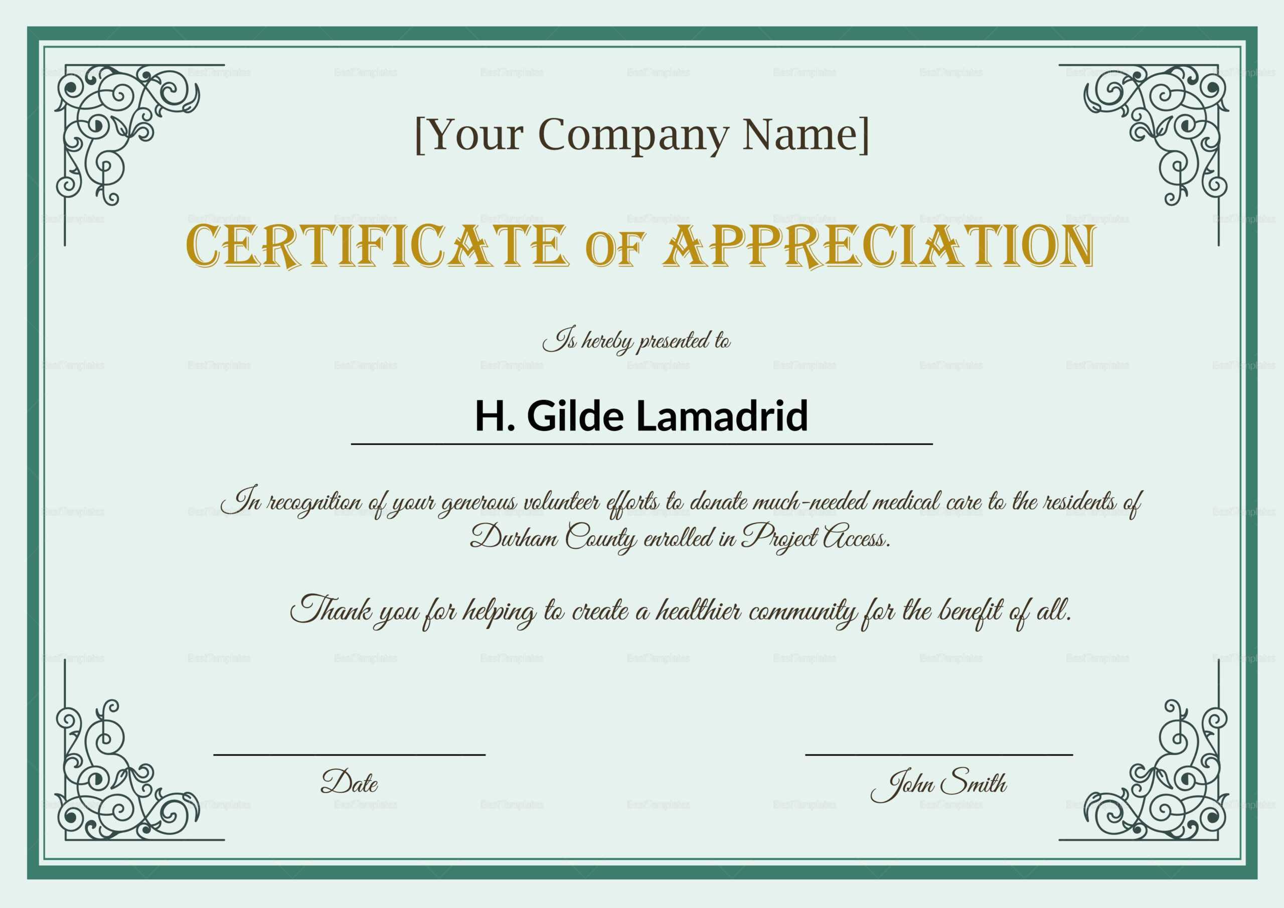 Company Employee Appreciation Certificate Template With Regard To In Appreciation Certificate Templates