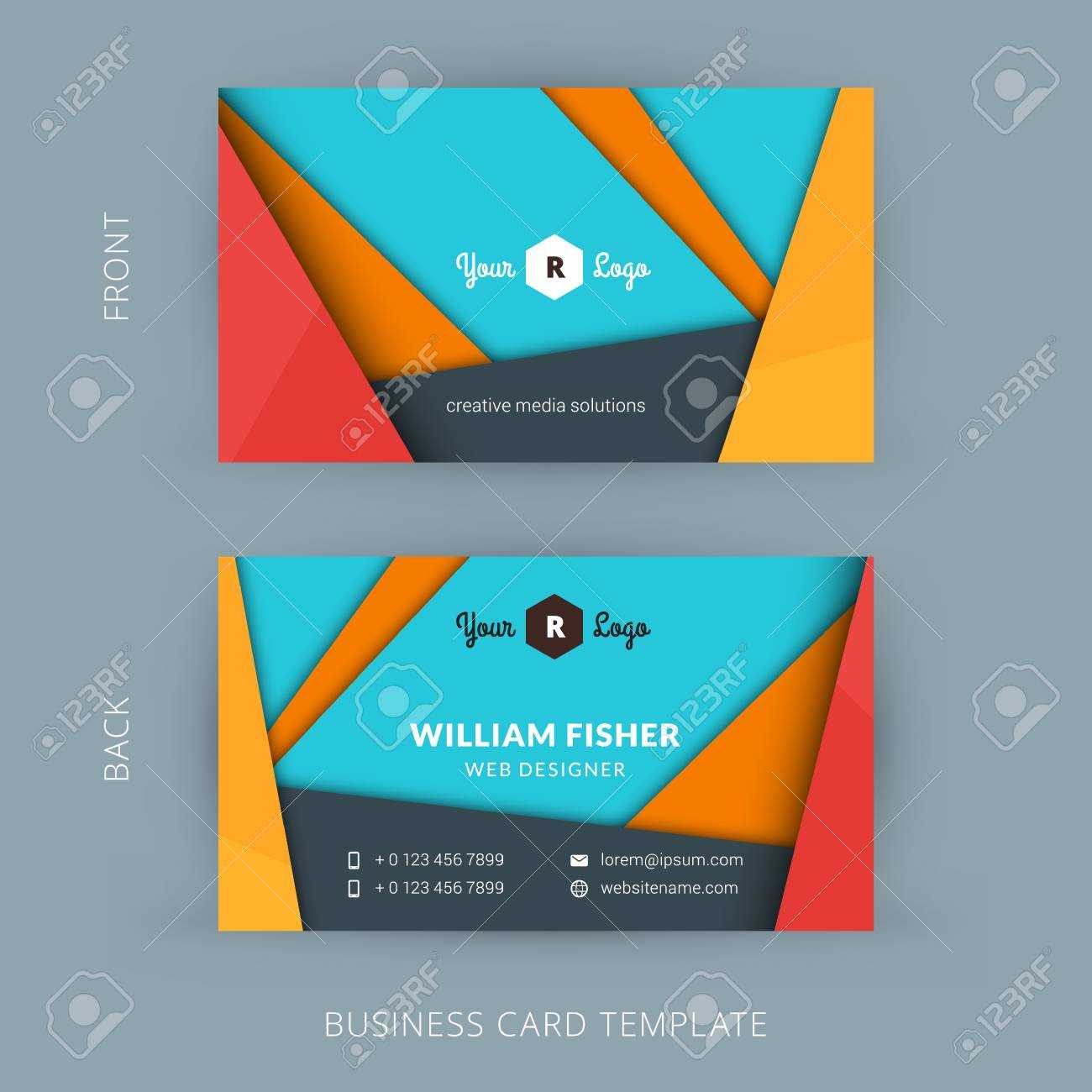 Creative And Clean Business Card Template With Material Design Abstract  Colorful Background Intended For Web Design Business Cards Templates
