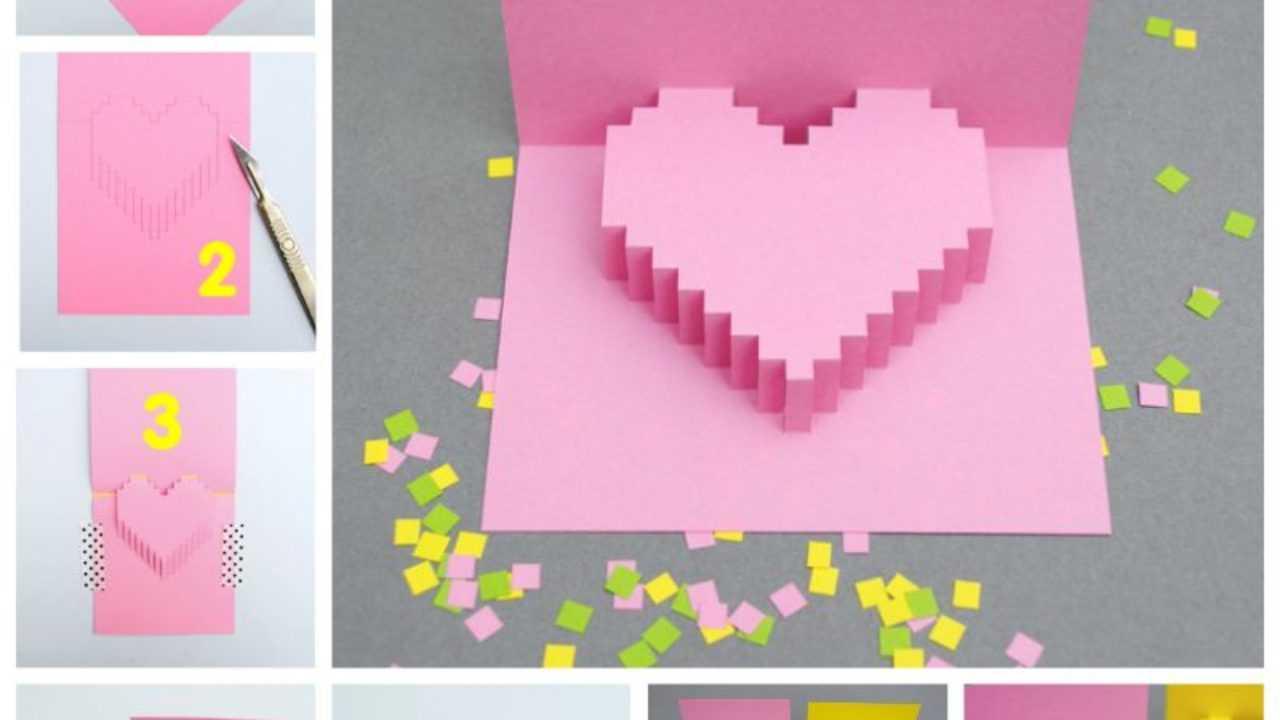 Creative Ideas - Diy Pixel Heart Popup Card Intended For Pixel Heart Pop Up Card Template