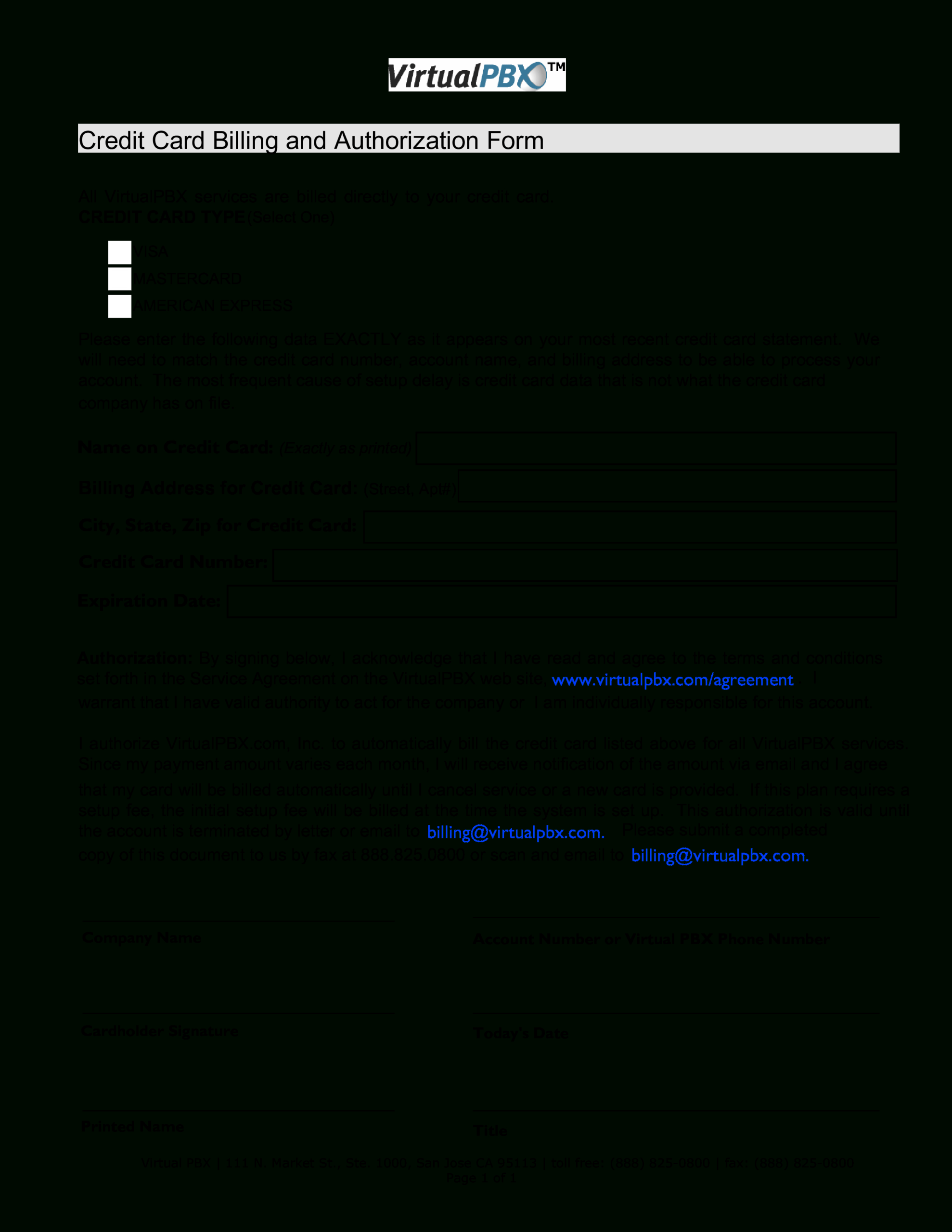 Credit Card Billing Form   Templates At Allbusinesstemplates Pertaining To Corporate Credit Card Agreement Template
