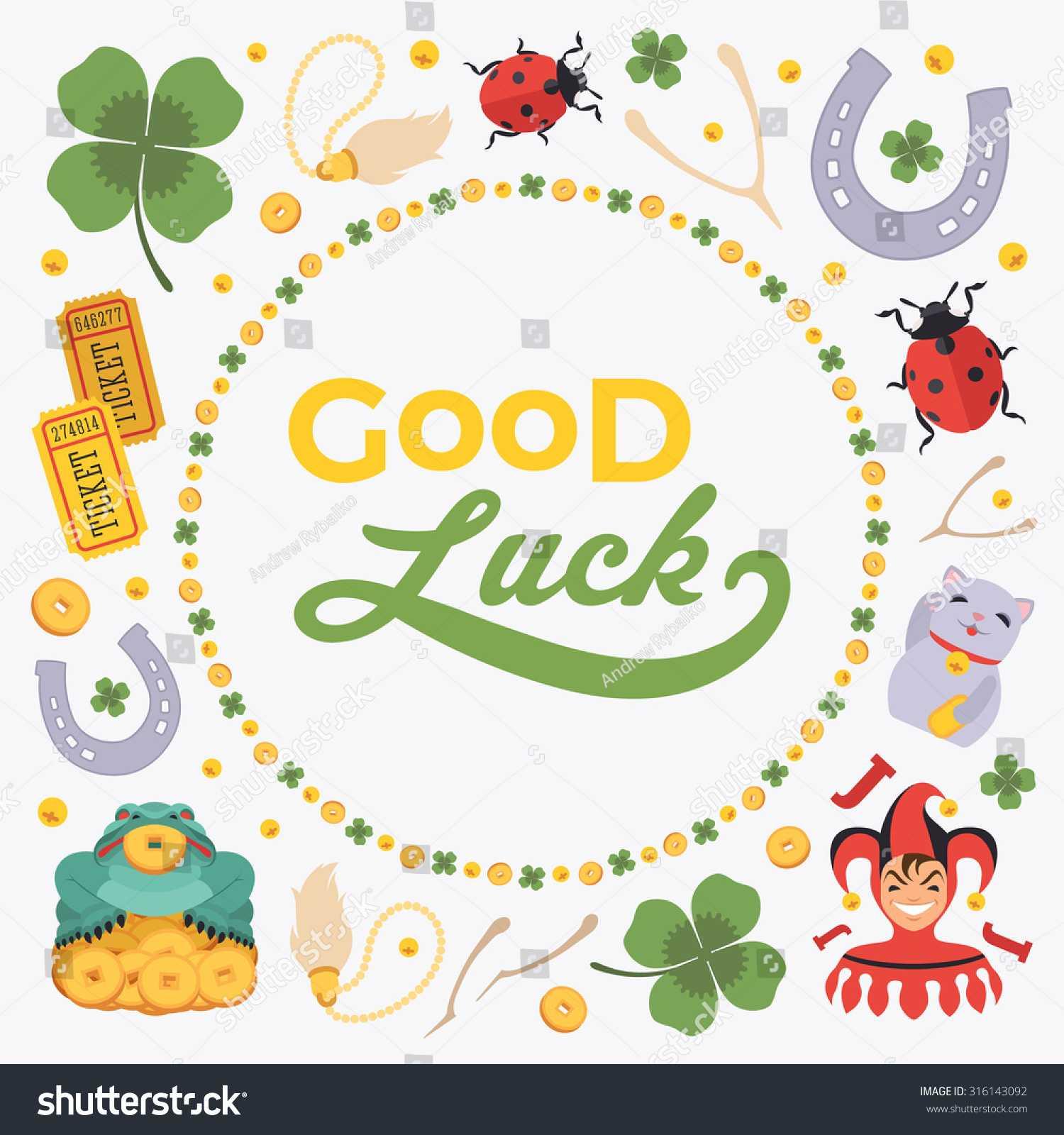 Стоковая Векторная Графика «Vector Decorating Design Made Within Good Luck Card Template
