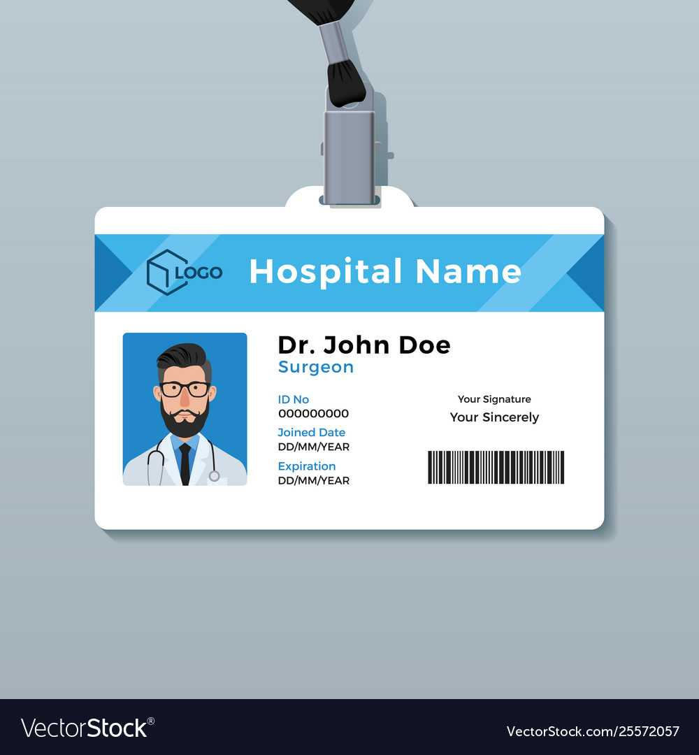 Doctor Id Card Template Medical Identity Badge Pertaining To Doctor Id Card Template