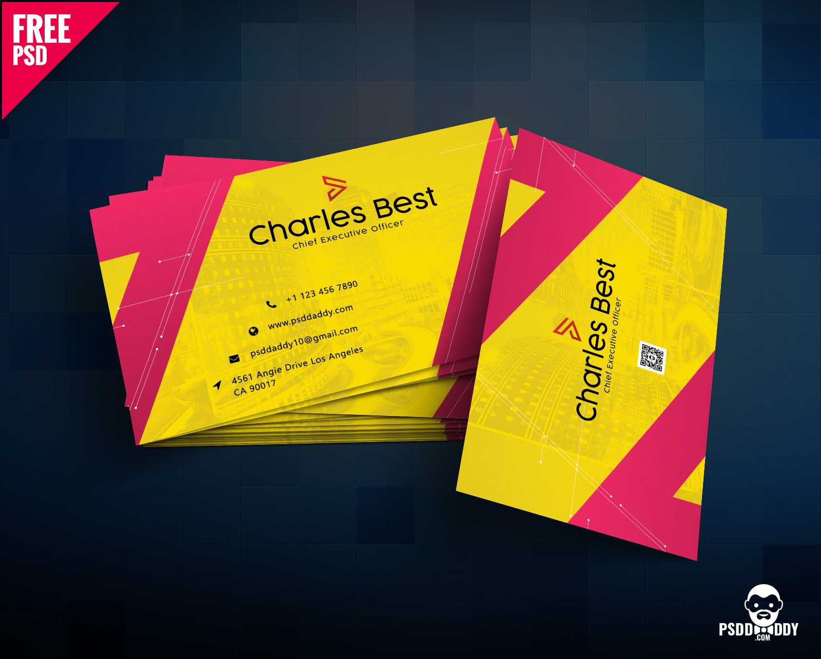 Download] Creative Business Card Free Psd   Psddaddy Throughout Business Card Size Psd Template