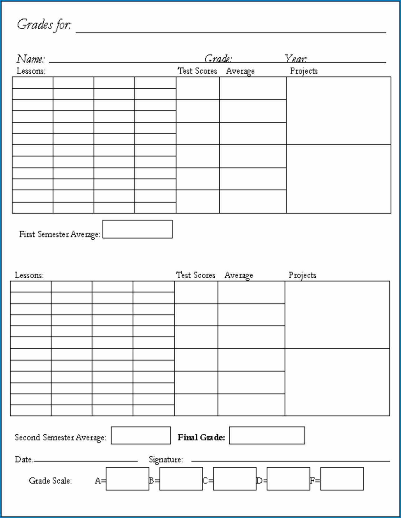 √ Free Printable Homeschool Report Card Template | Templateral For Blank Report Card Template