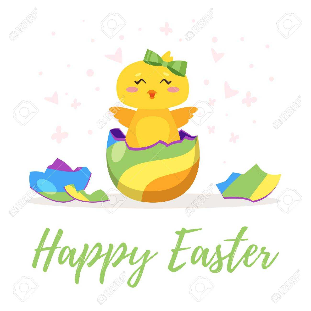 Easter Day Greeting Card Template With Cute Chick Hatched From.. Pertaining To Easter Chick Card Template