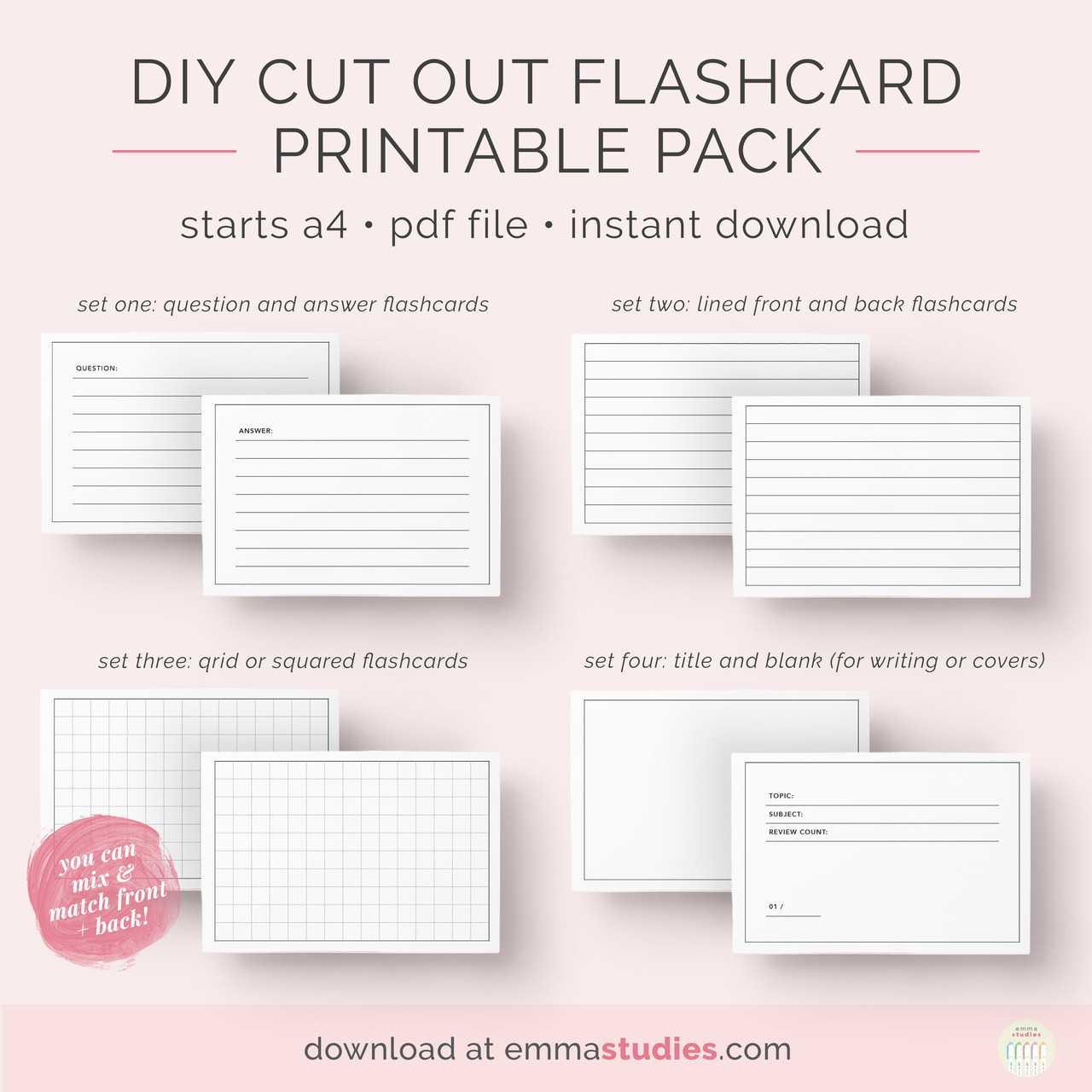 Emma's Studyblr — Free Diy Flashcards Printable Pack I've Pertaining To Free Printable Blank Flash Cards Template