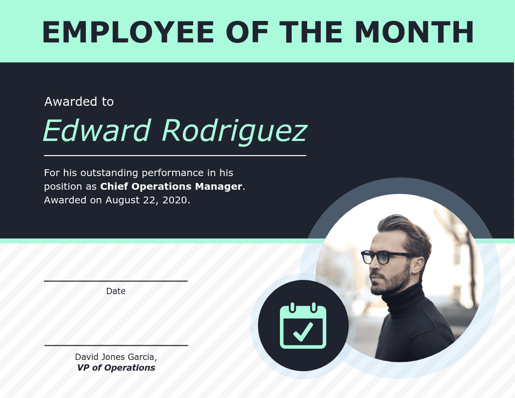 Employee Of The Month Certificate Of Recognition Template Within Employee Of The Month Certificate Template