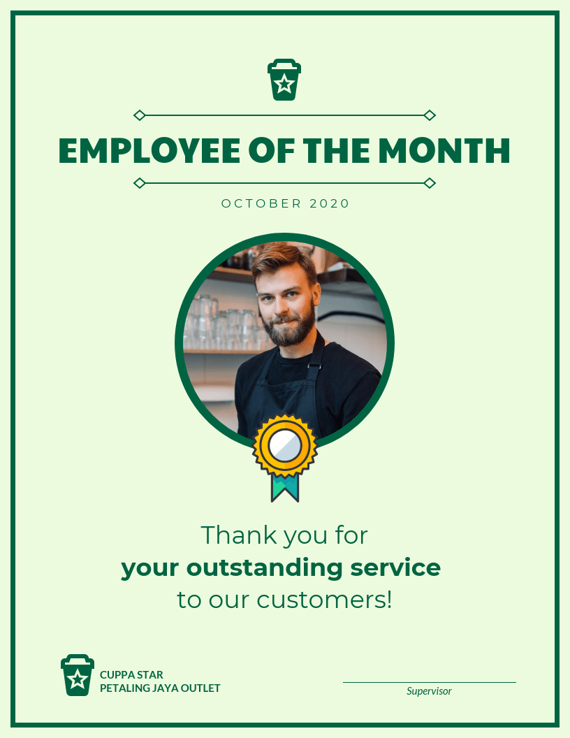 Employee Of The Month Certificate Template For Employee Of The Month Certificate Template
