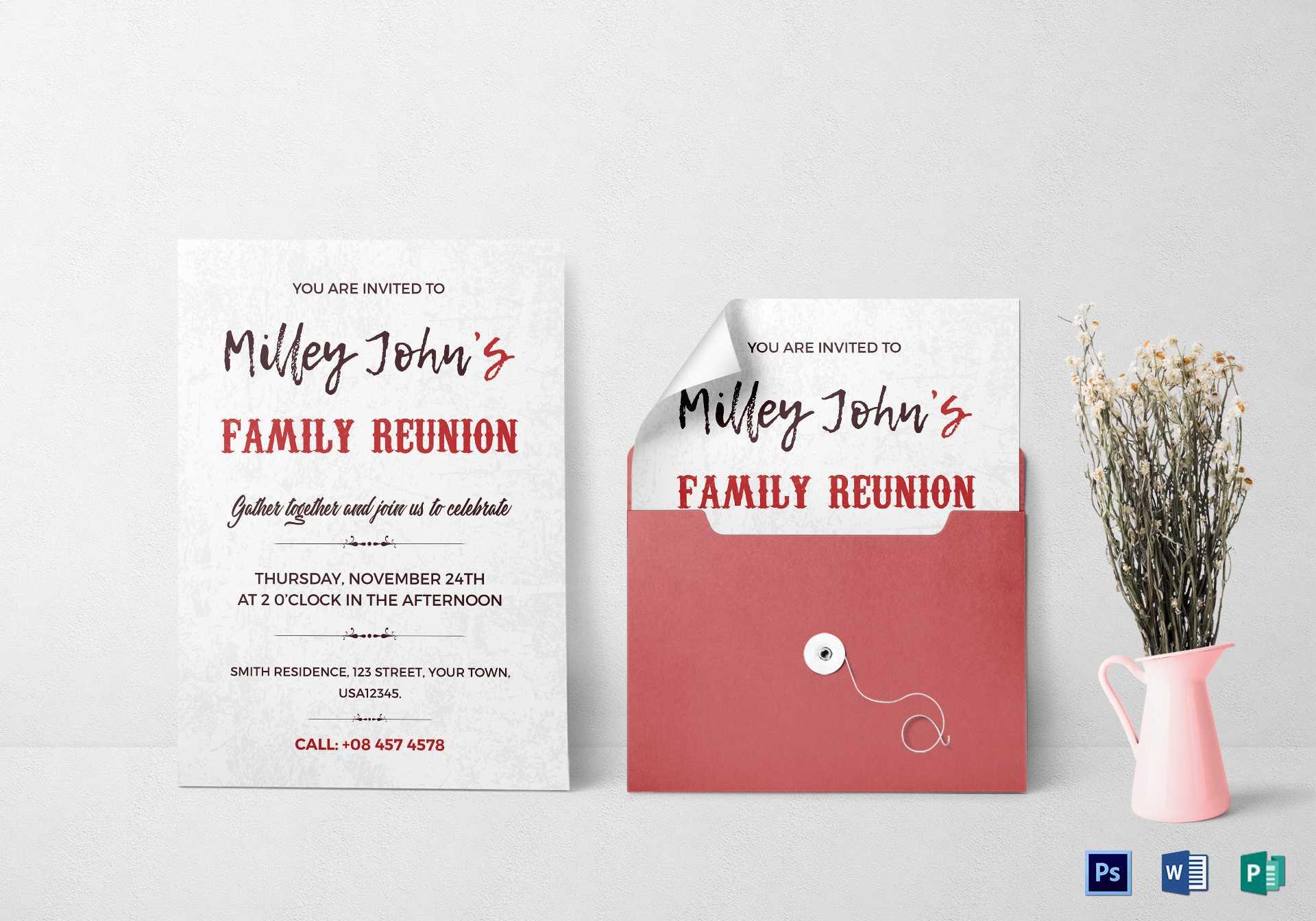 Family Reunion Invitation Card Template Inside Reunion Invitation Card Templates
