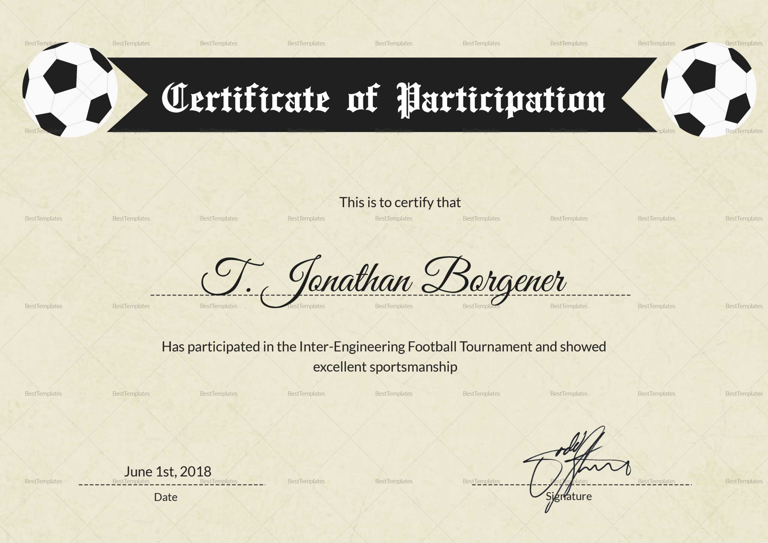 Football Certificate Of Participation - Calep.midnightpig.co With Regard To Football Certificate Template