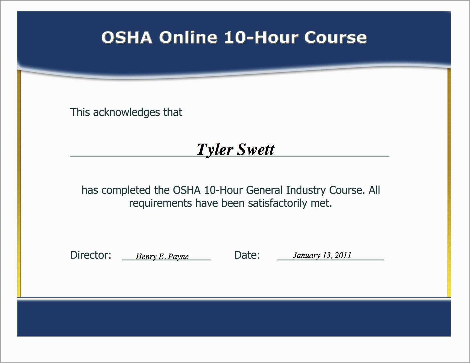 Forklift Training Template Free / Forklift Certification Wallet Inside Osha 10 Card Template