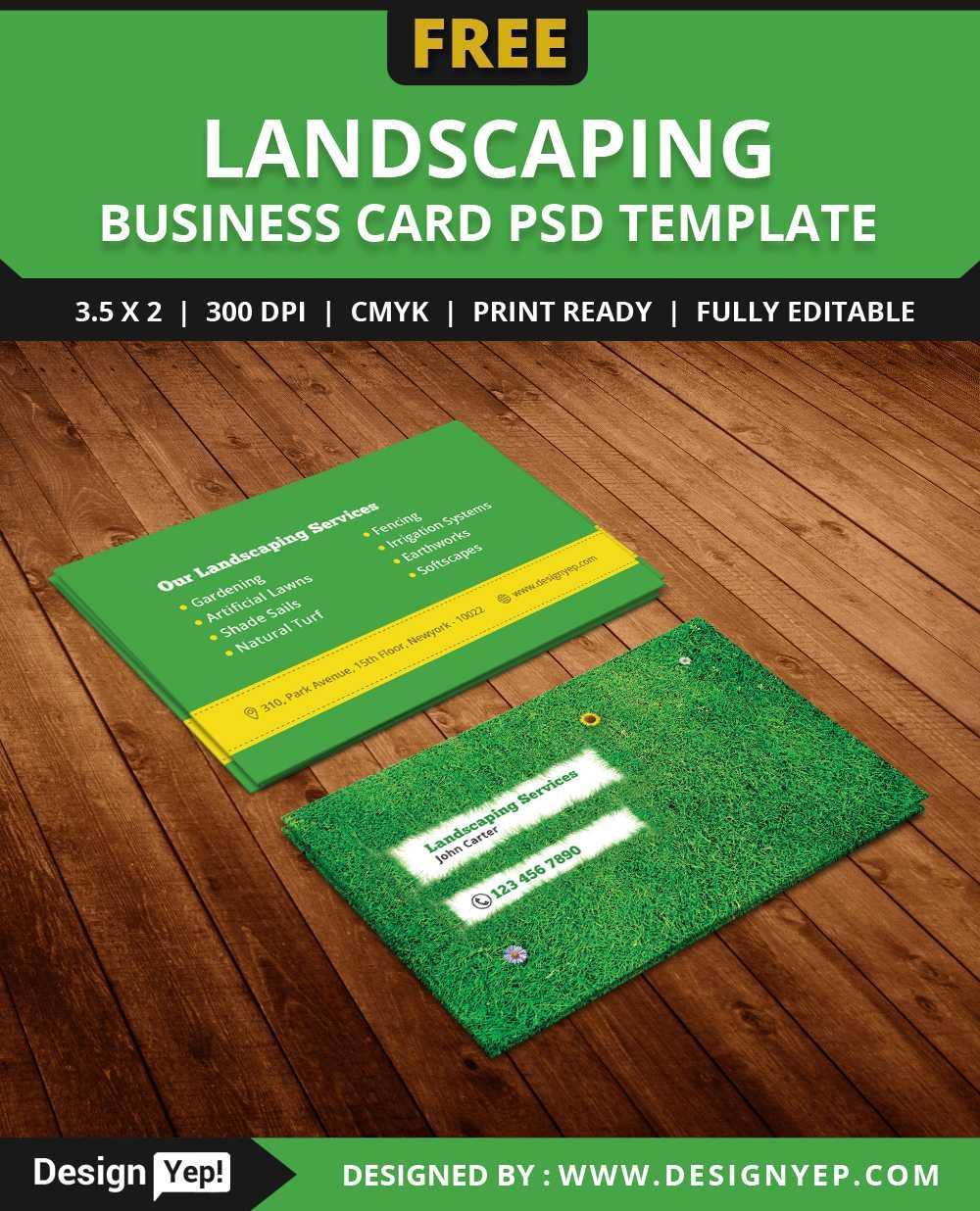 Free Landscaping Business Card Template Psd – Designyep Regarding Gardening Business Cards Templates