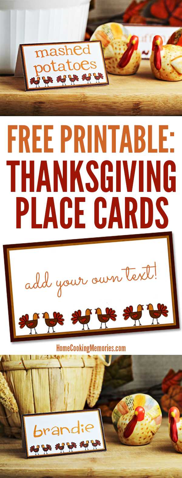 Free Printables: Thanksgiving Place Cards - Home Cooking Throughout Thanksgiving Place Cards Template