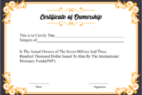 Free Sample Certificate Of Ownership Templates | Certificate for Certificate Of Ownership Template