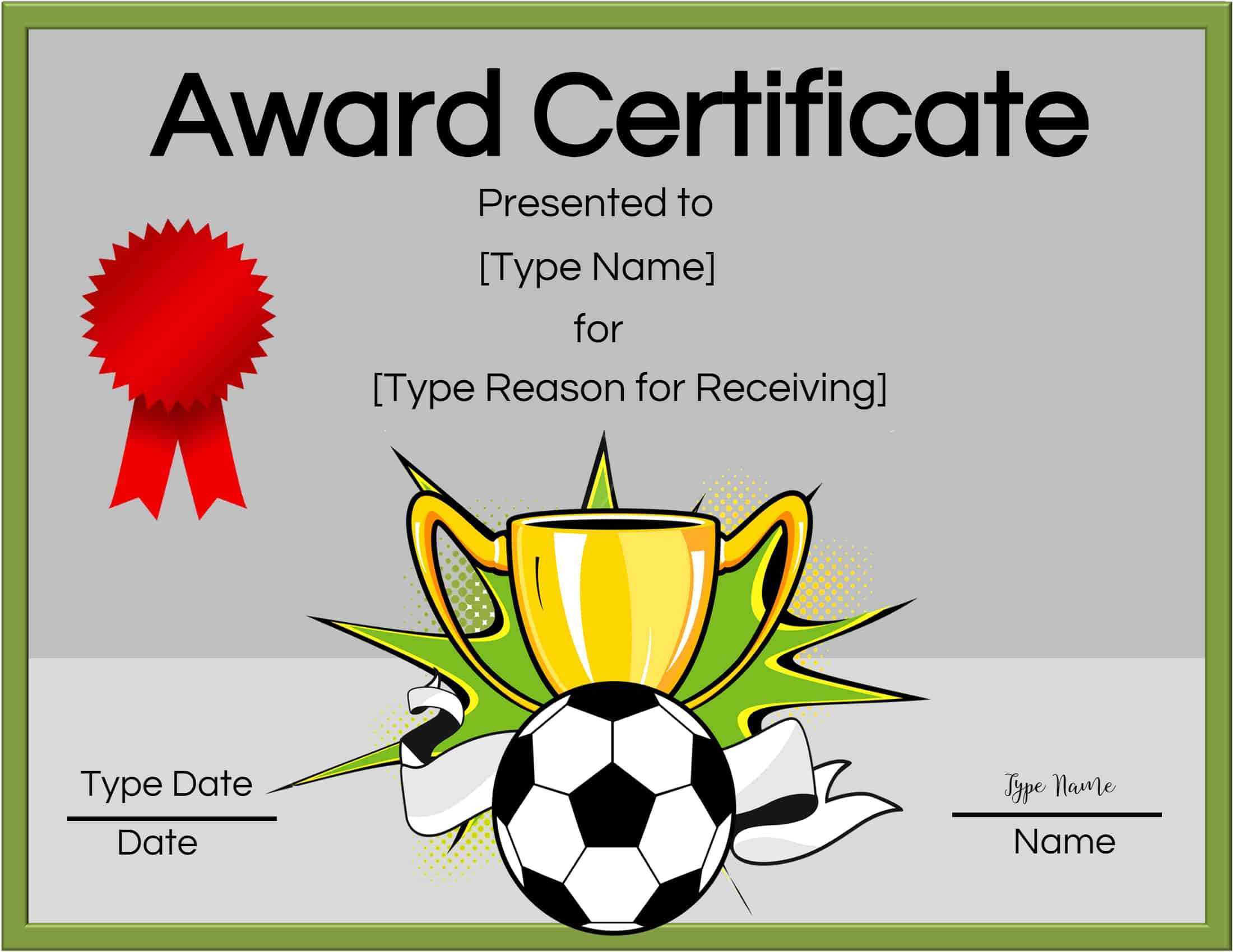 Free Soccer Certificate Maker | Edit Online And Print At Home Within Soccer Award Certificate Template